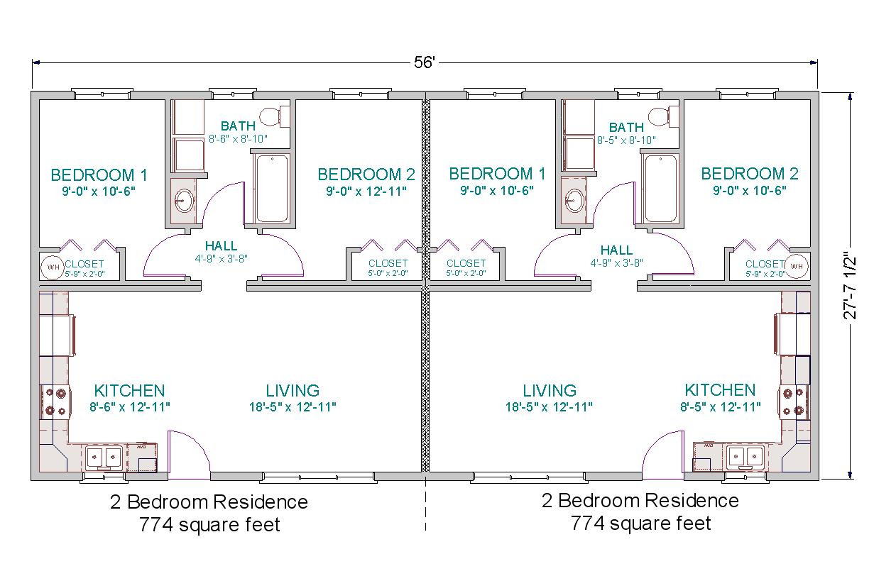 2 bedroom duplex floor plans with garage Duplex floor plans with double garage
