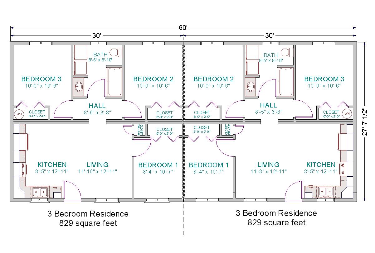 each unit in this duplex includes 840 square feet 3 bedrooms and 1
