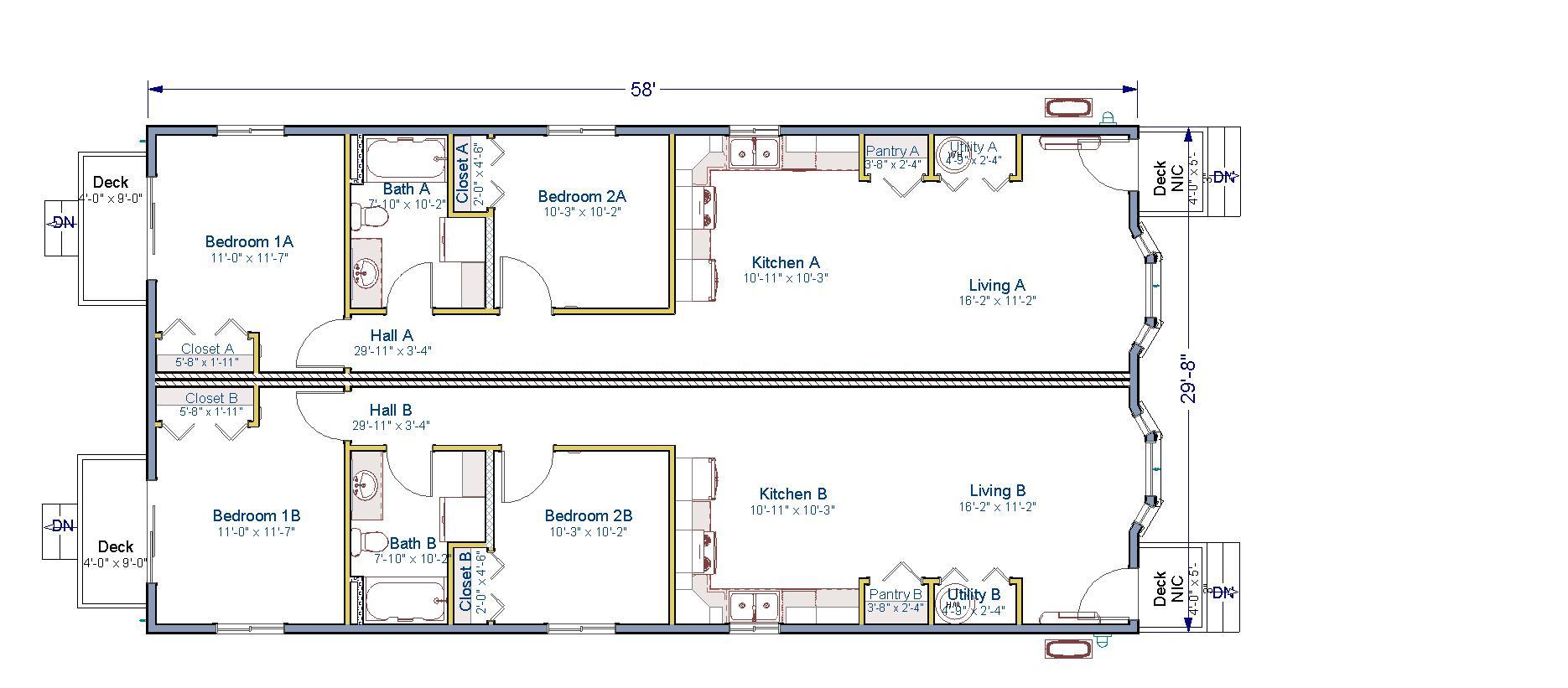 30x58 Duplex Tlc Modular Homes